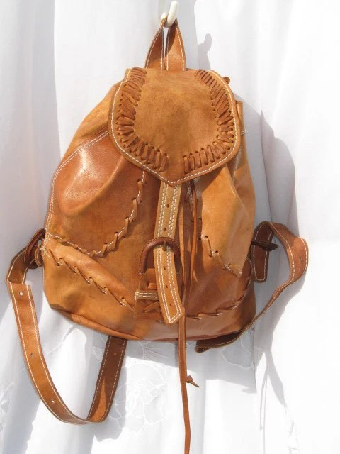 Handcrafted/ Hand Tooled Tan Leather Travel Backpack