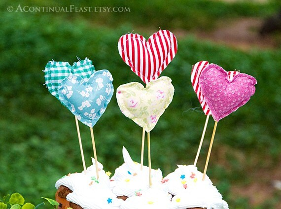 Fabric Heart Cupcake Toppers,set of 6