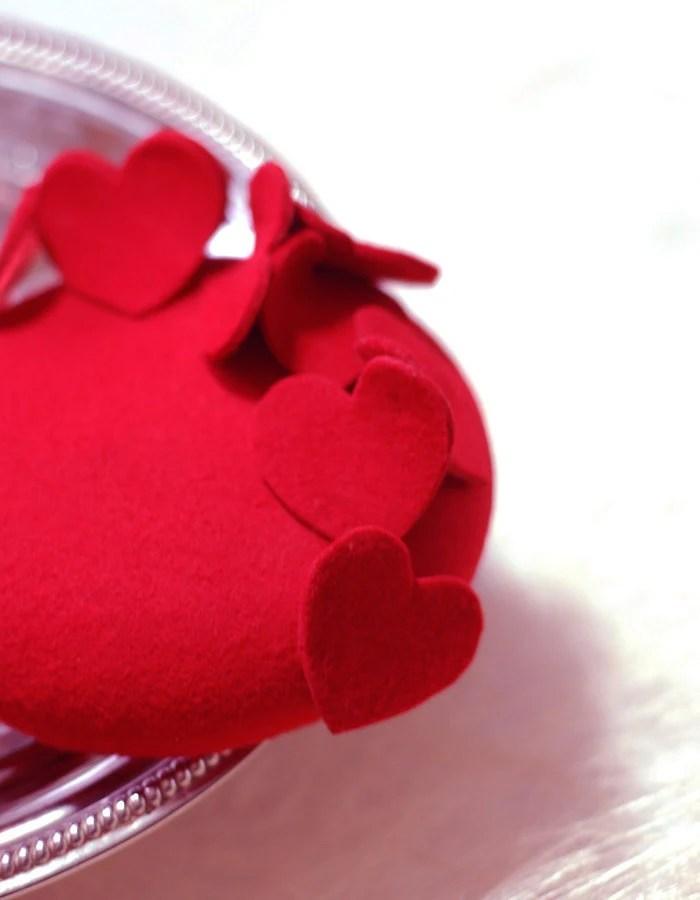 LoVE Hearts, Red Wool Fascinator, Head Piece