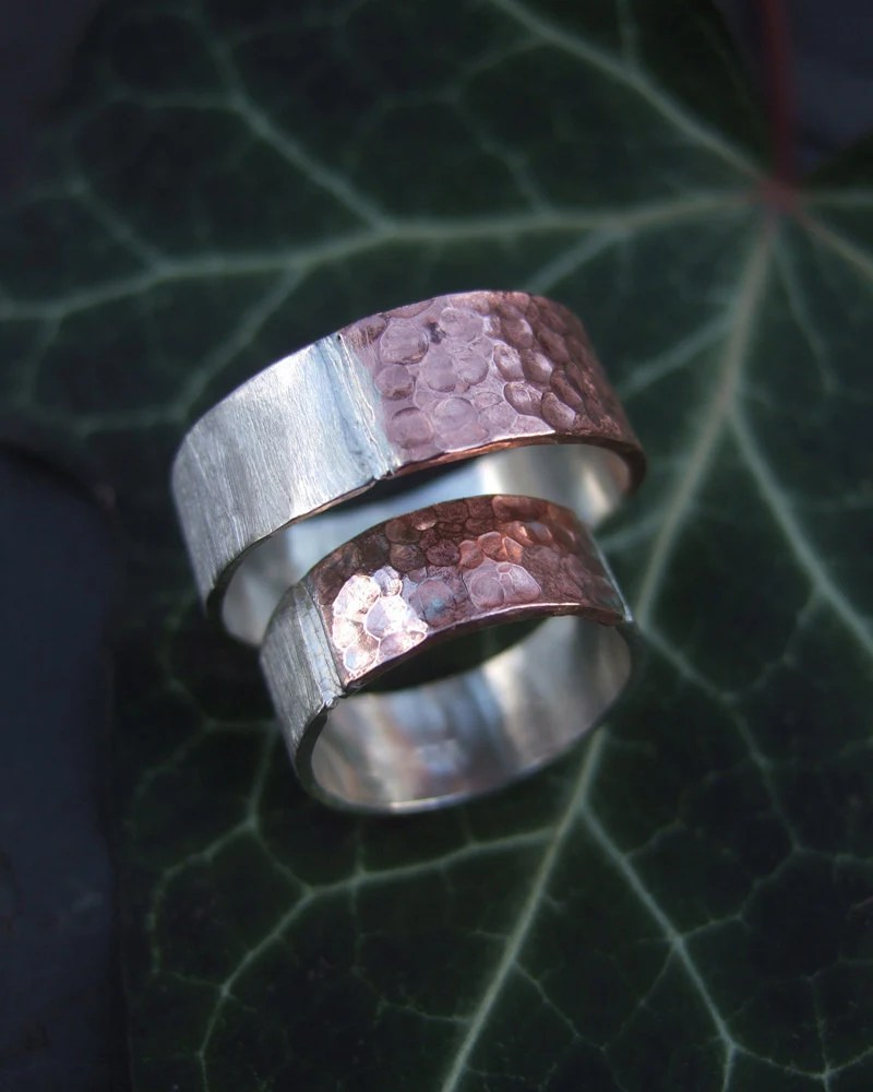 Venus Connection, silver and copper hammered ring set