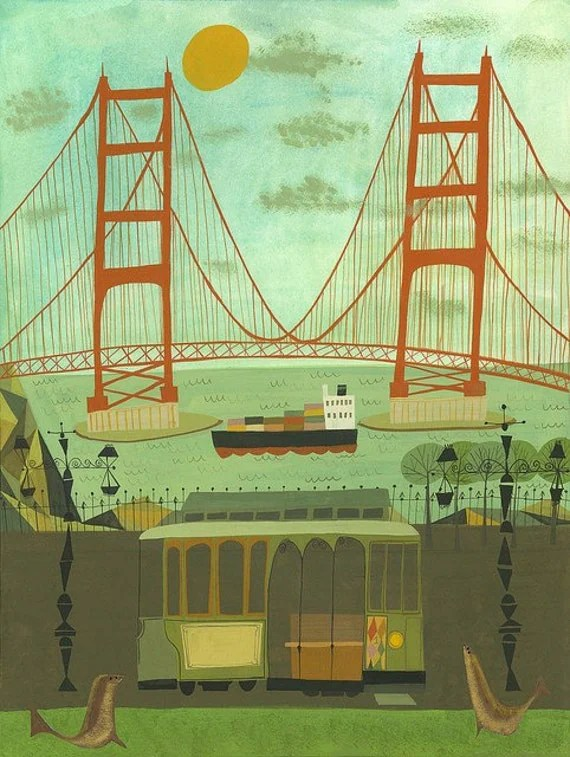 Golden Gate Bridge.  Limited edition 13x19 print by Matte Stephens.