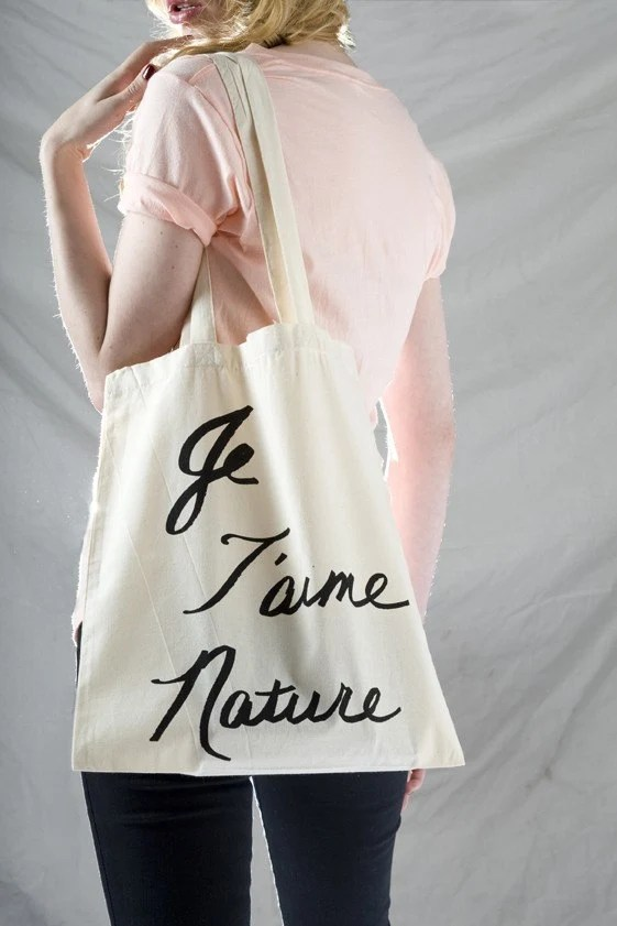 JE TAIME NATURE Cotton Tote Bag
