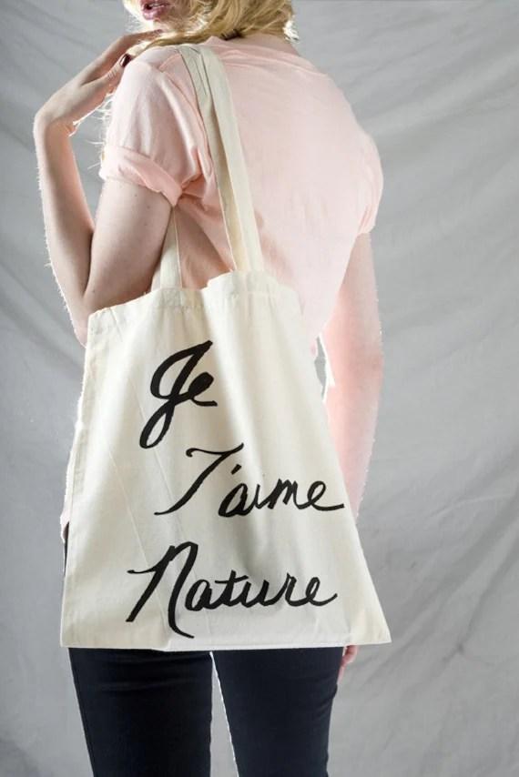 JE TAIME NATURE Cotton Tote Bag