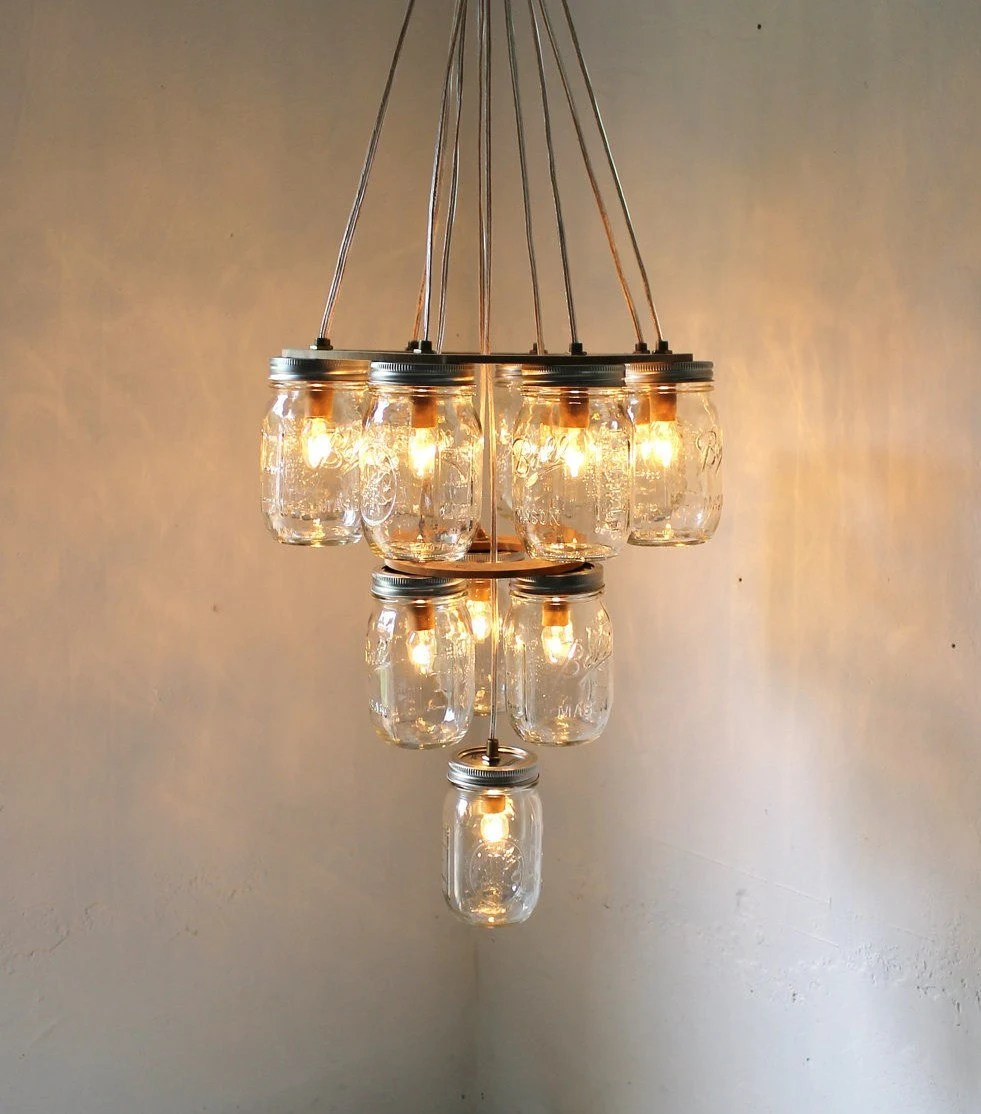Mason Jar Chandelier - Mason Jar Lighting - 3 Tier Upside Down Wedding Cake - Handcrafted Upcycled BootsNGus Hanging Pendant Light Fixture