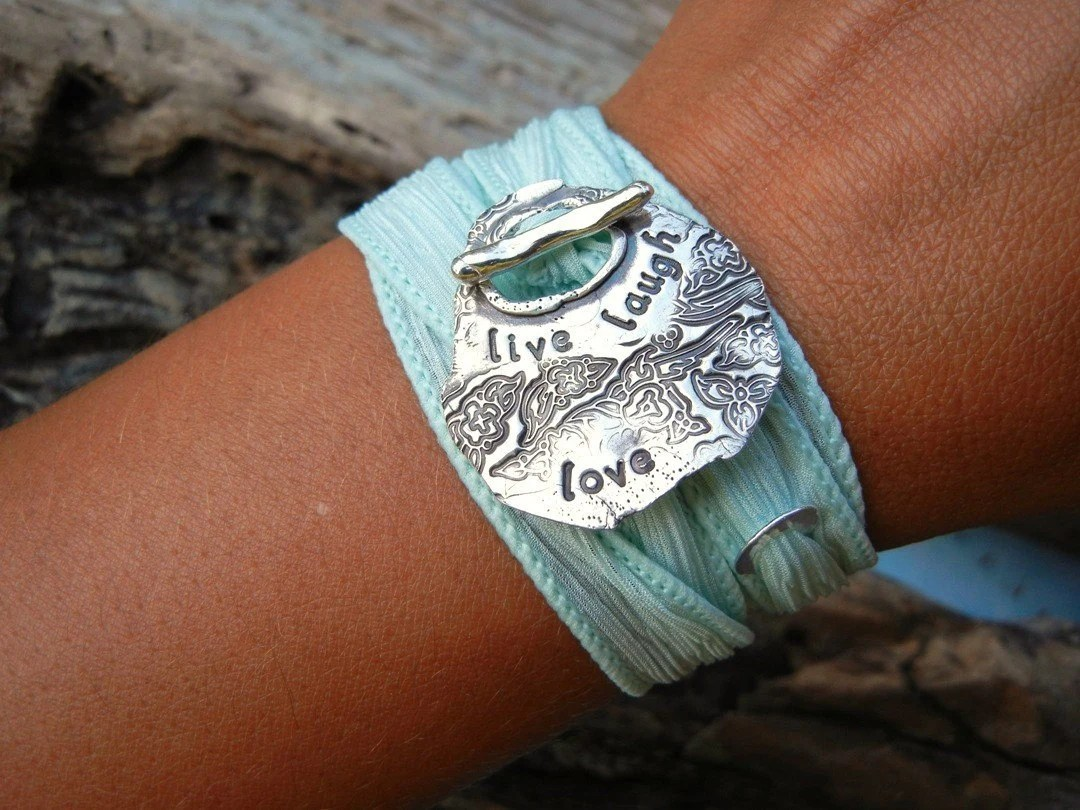 Hand Dyed Silk Ribbon Bracelet, Inspiratioanl Quote Jewelry, Live Laugh Love, Yoga Wrap, SIlver Toggle Clasp