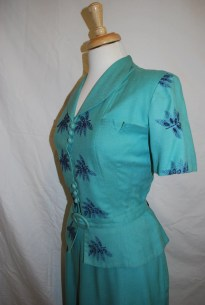 Vintage 1940's Teal Embroidered Two Piece Suit