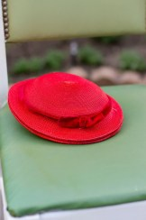 1940s Red  Straw Hat