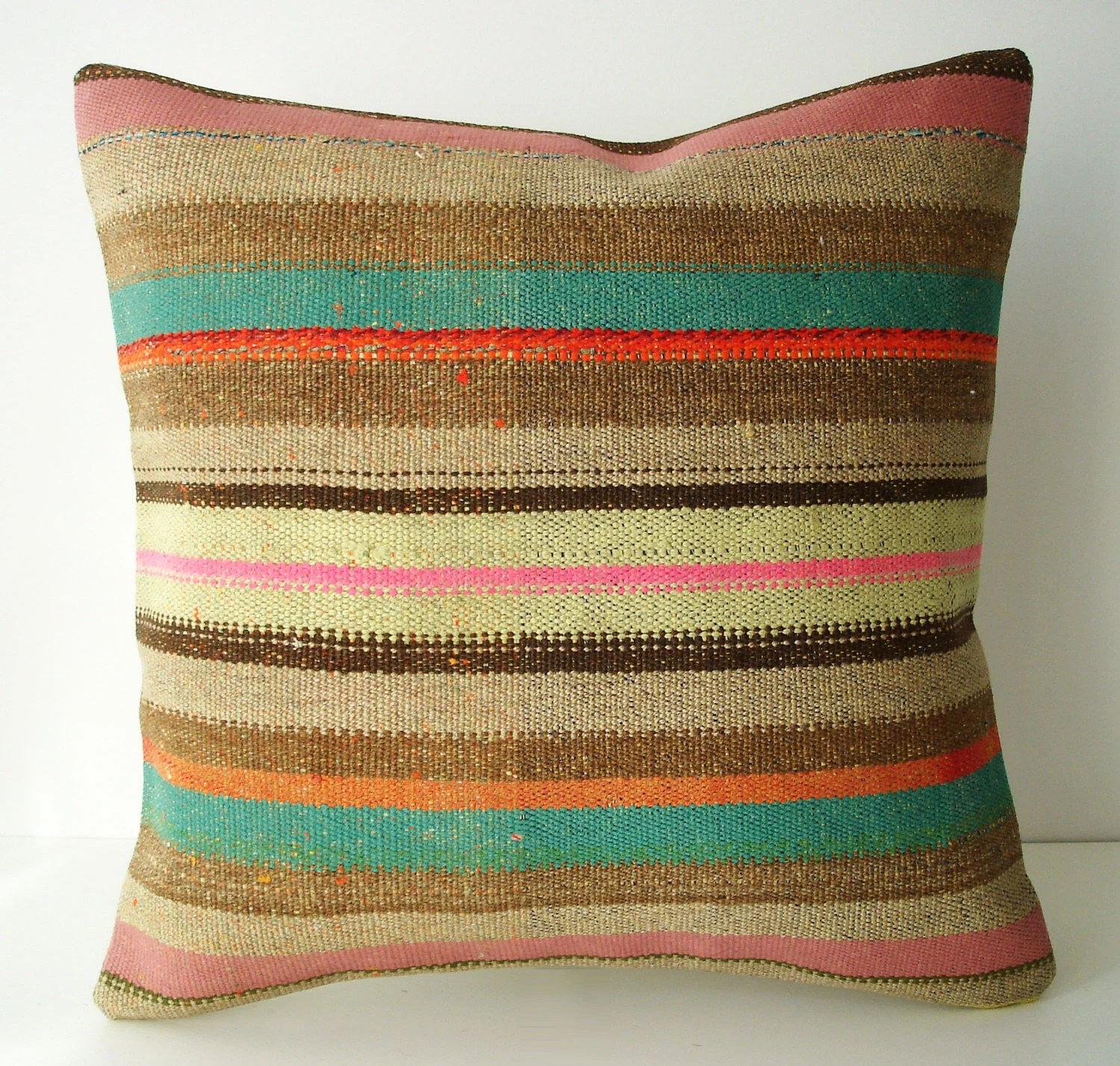 Sukan / Hand Woven - Turkish  Kilim Pillow Cover - 18x18