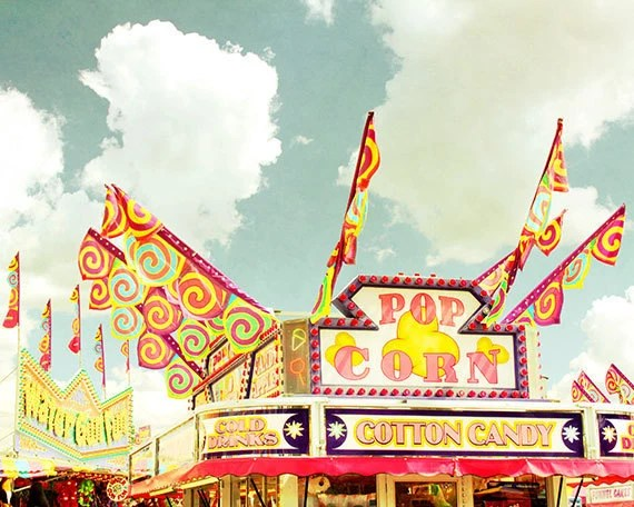 Carnival food stall photograph - County Fair Pop Corn, Cotton Candy and Cold Drinks - Amusement Park Photography