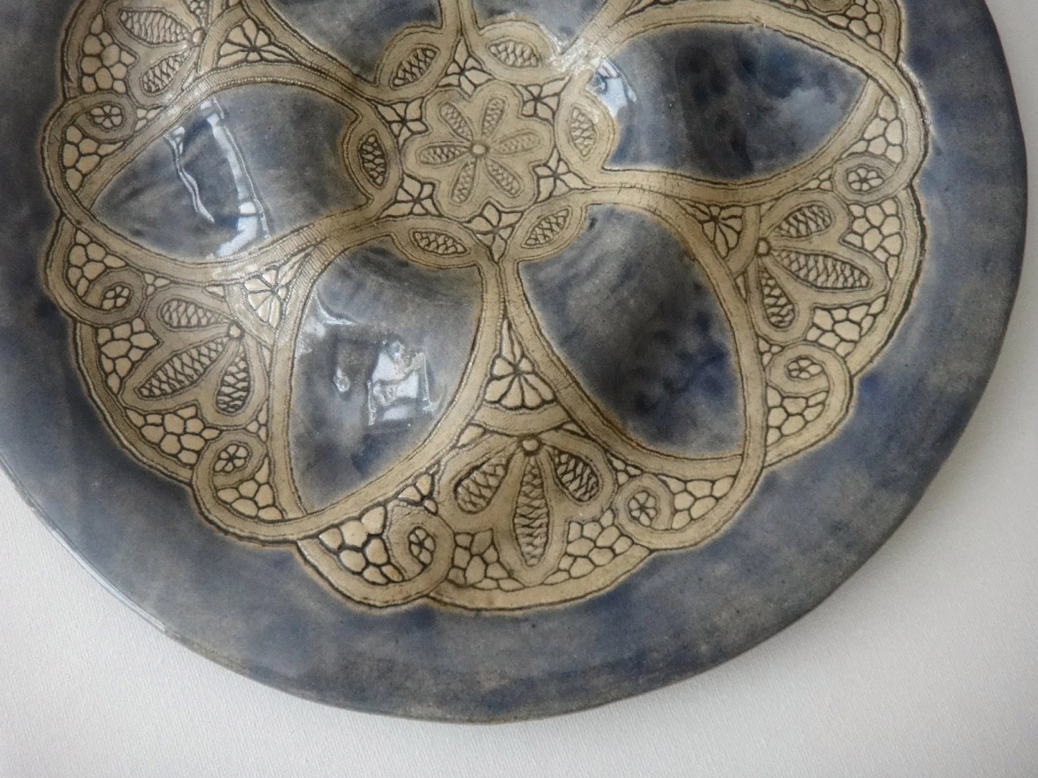 Blue Pottery Lace Chip and Dip Tray