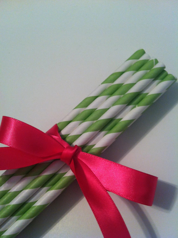 25 Green Stripe Paper Straws