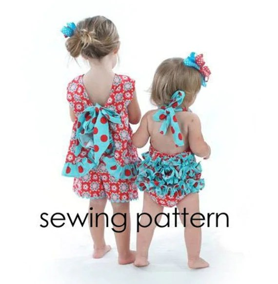 Ruffled Pinafore Pattern - Easy Girls Sewing Tutorial, PDF, Baby to Toddler