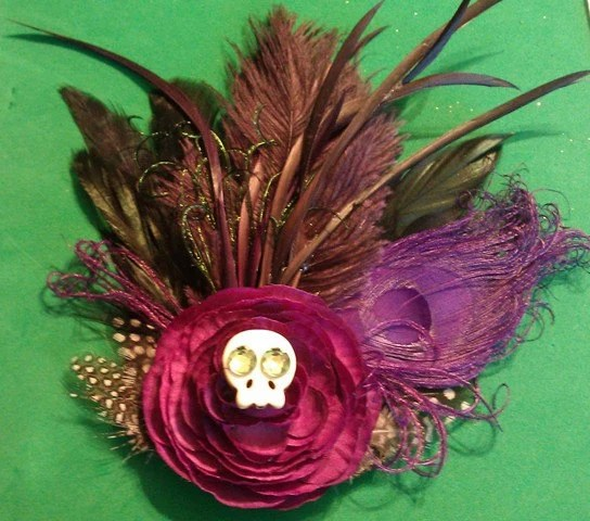 Halloween Wedding, NOLA, Wedding, Wedding Couture, OOAK, Purple fascinator, peacock feather, peacock, purple,burlesque boudoir