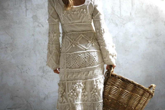 Off-white hand knit dress wedding - custom order