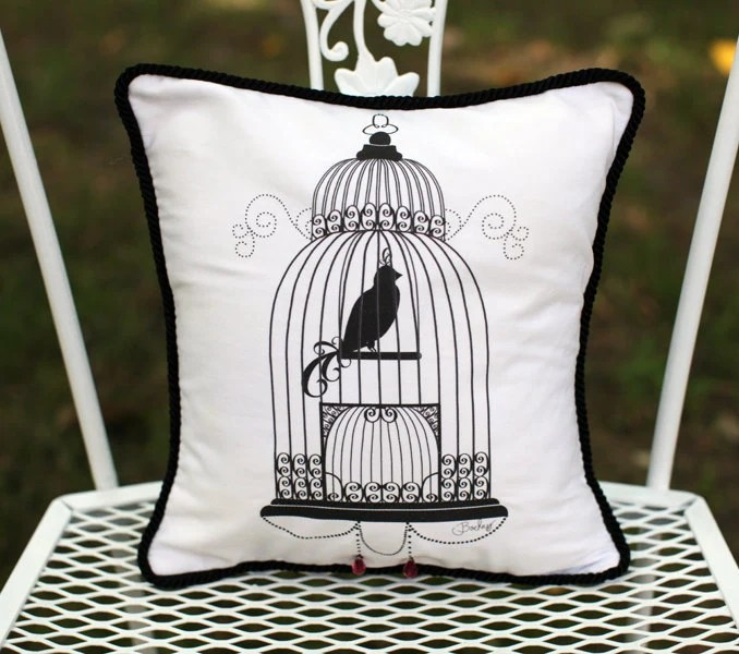 Bird Cage decorative Accent Pillow