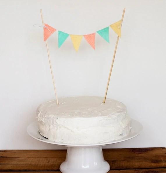 Cake Bunting (peach, aqua, light yellow)