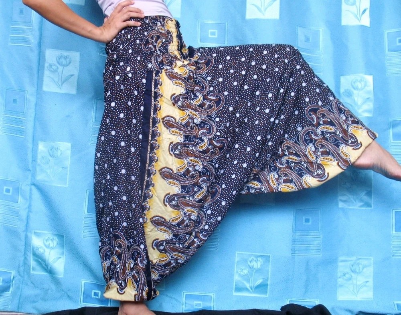 Batik Hippie Pants Blue Floral Yoga Pants Gypsy Fisherman Harem Jumpsuit Tube Top Playsuit