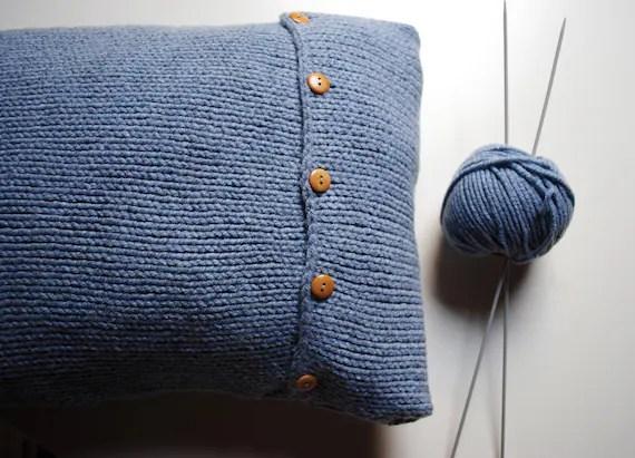 Knit pillow cover - light blue wool 12 x 18