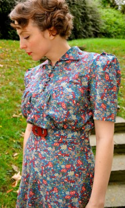 Elise- Wartime inspired late 1930s printed cotton dress