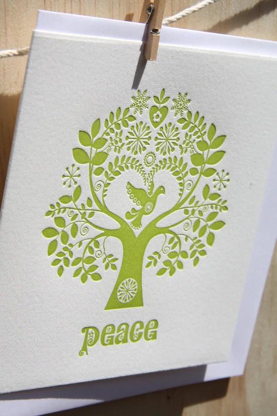 "Letterpress Christmas Card Scandinavian Folk Style Green Tree of Life ""Peace"""