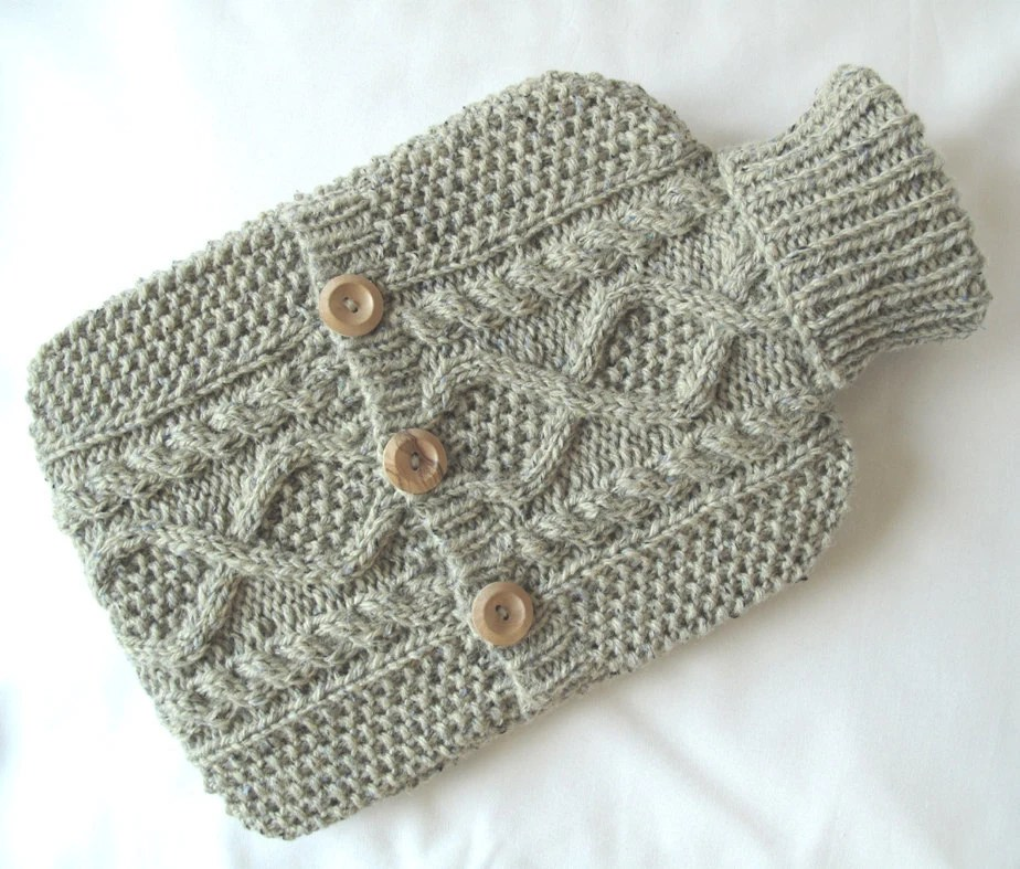 hand knit hot water bottle cover