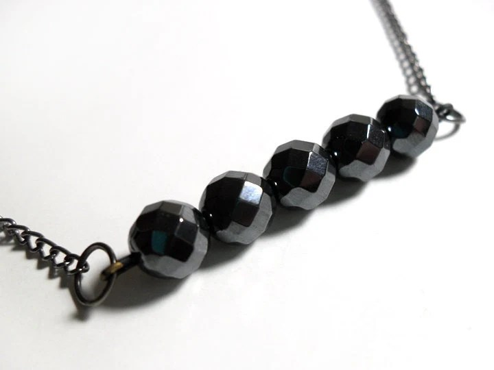 Black Faceted Rondelle Necklace - $14.00