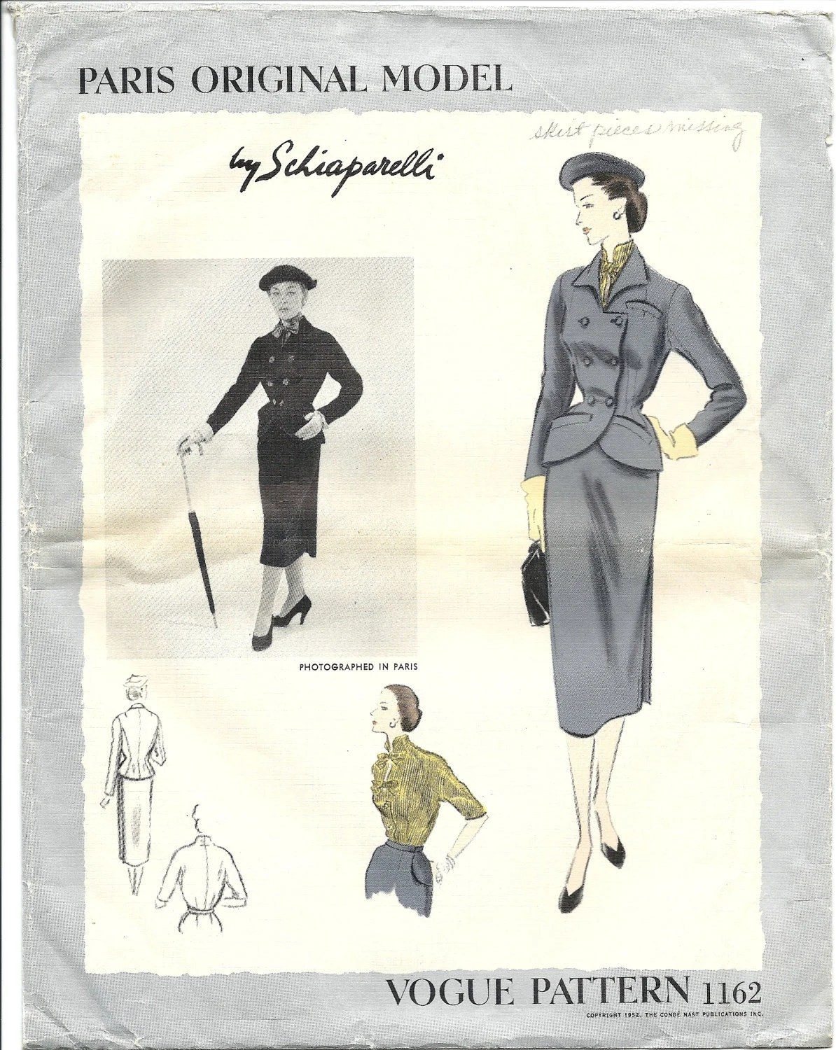 Vogue 1162 Elsa Schiaparelli pattern 1950s jacket skirt suit blouse Vogue Paris Original
