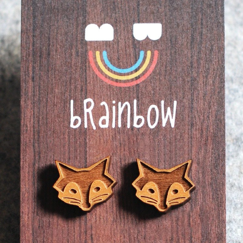 Wooden Fox Earrings by bRainbowshop