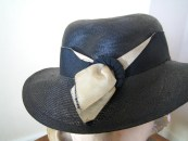 1930s Hat - dark blue straw sporty 30s English hat with cream and blue trim