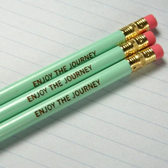 enjoy the journey pencil set of three 3 in mint green. Jot brilliant notes, take exams, and doodle with this inspired pencil. - thecarboncrusader