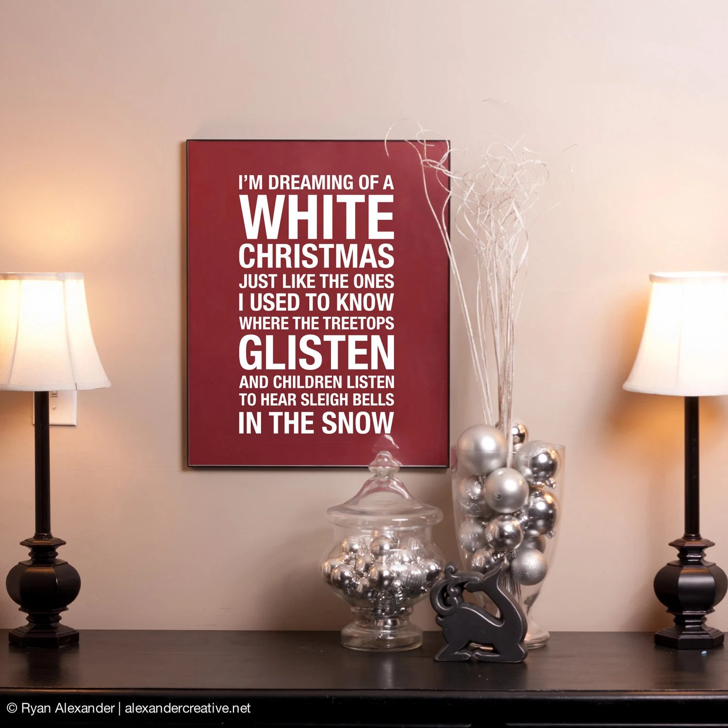 White Christmas Subway Art Print // Red and White // 16x20