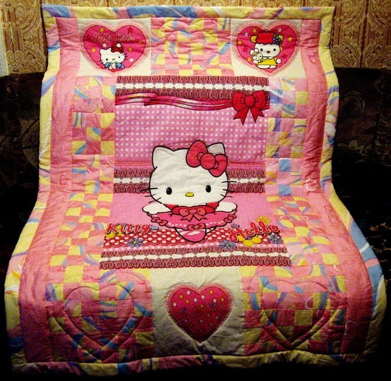 "Quilt for children  ""Kitty in Pink Colors"""
