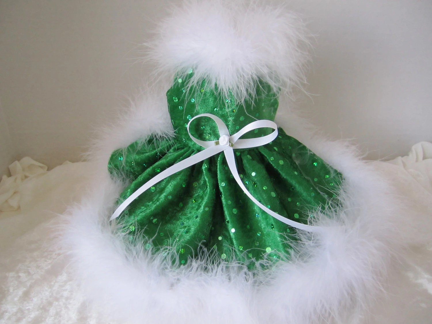 Christmas Dog Dress  XXS  Green with  white boa