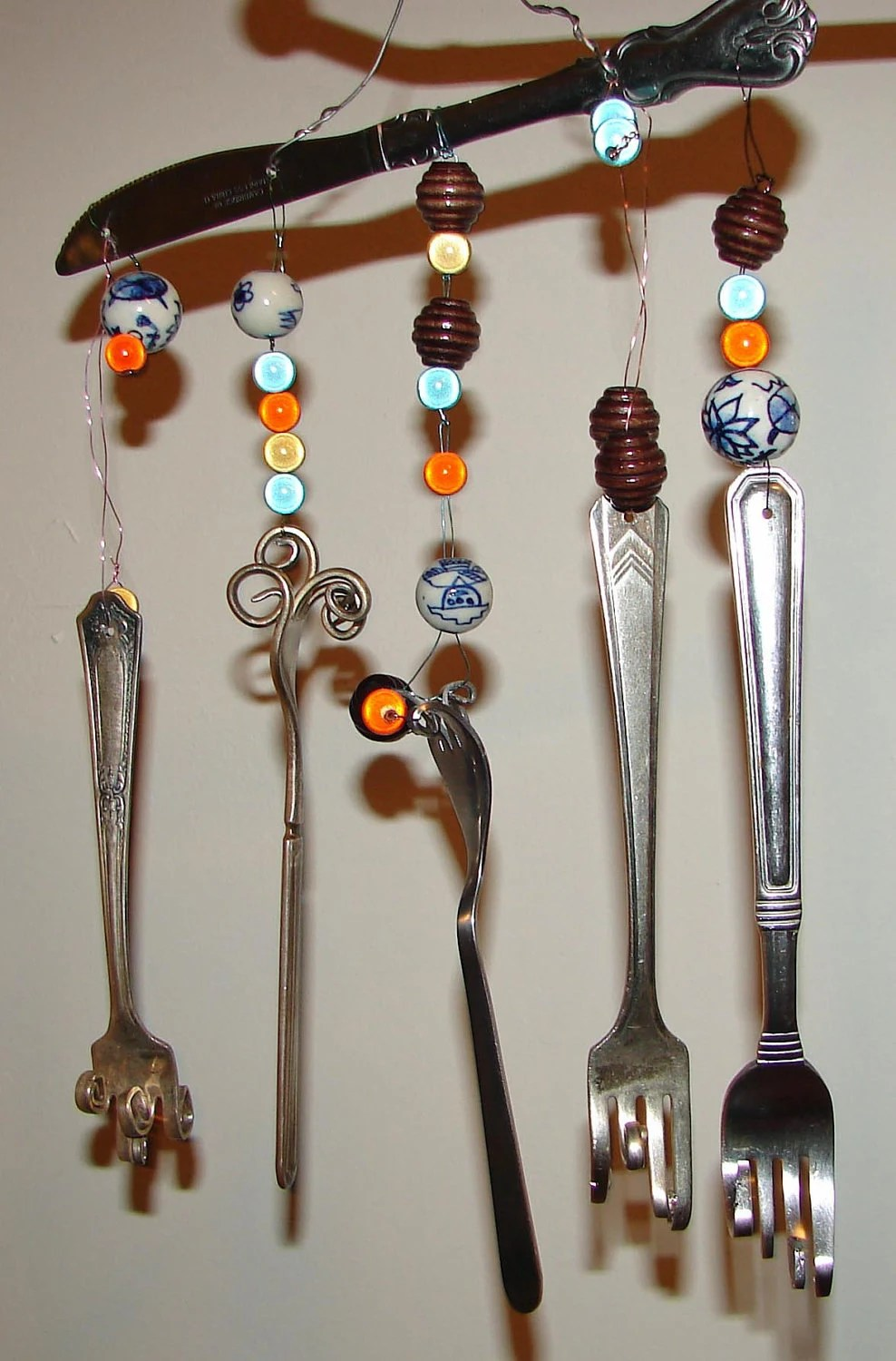 fork twist wind chime with beads