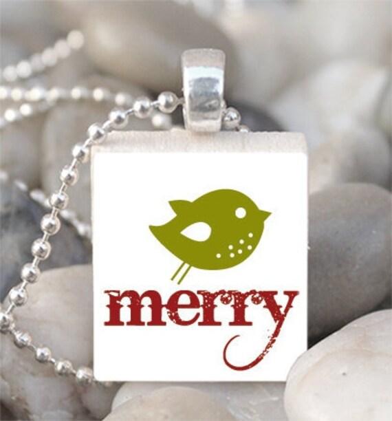 Scrabble Tile Pendant Bird Christmas Pendant Christmas Bird Necklace With Silver Ball Chain (A467)