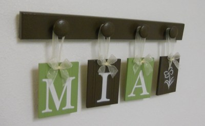 MIA with a FLOWER Nursery Alphabet Letter Set includes 4 Wooden Peg Brown and Light Green. Personalized nursery hanging ribbon signs