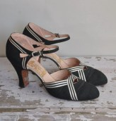 vintage 1930s 30s heels / 1930s rare designer glam sliver stripe heels / Sliver Tinsel Tree