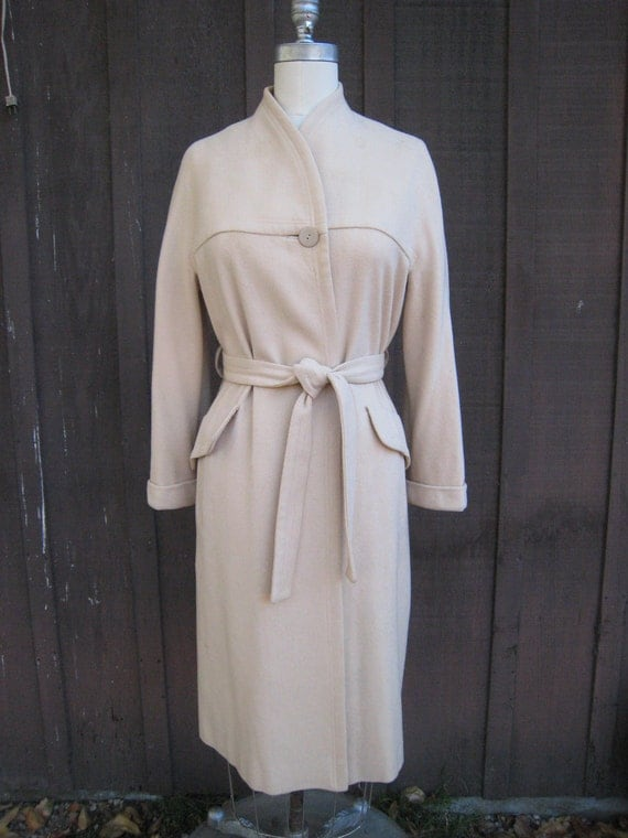 Vintage 1960s Collarless Cream Colored Coat by Mayfair of California