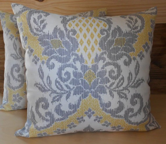 Yellow, gray and ivory floral ikat pattern decorative pillow covers, throw pillows
