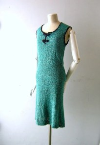 Teal dress - 50s hand knit sleeveless style -size 4/6 turquoise aqua teal - Mad Men era unknown designer craft