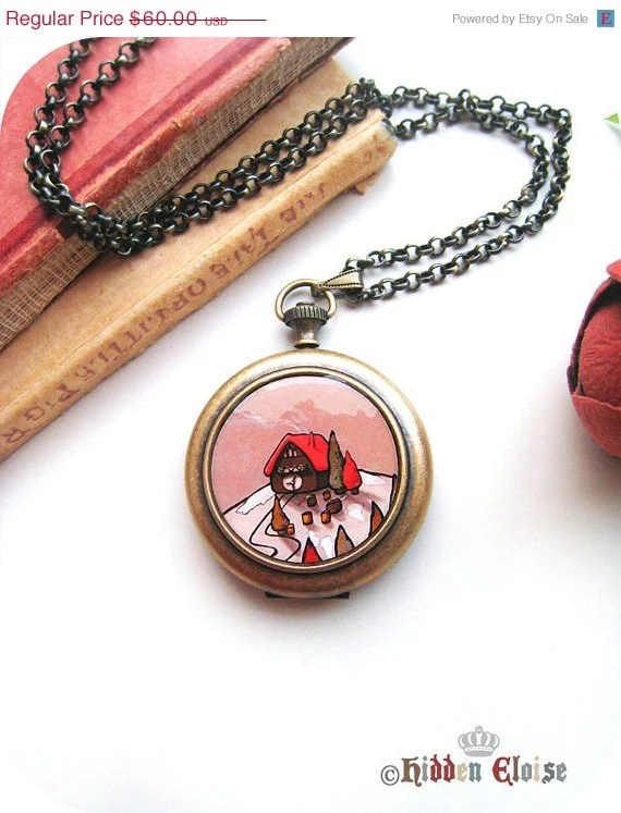 VALENTINES SALE -- Whimsical little house Pocket Watch Locket, whimsy locket, little house pocketwatch, quirky jewellery, for her, knock kn