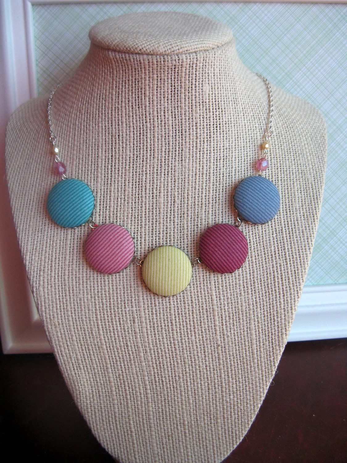 Fabric button necklace in mauve, magenta, pink, blue, navy, chartruese and teal with Czech glass accents
