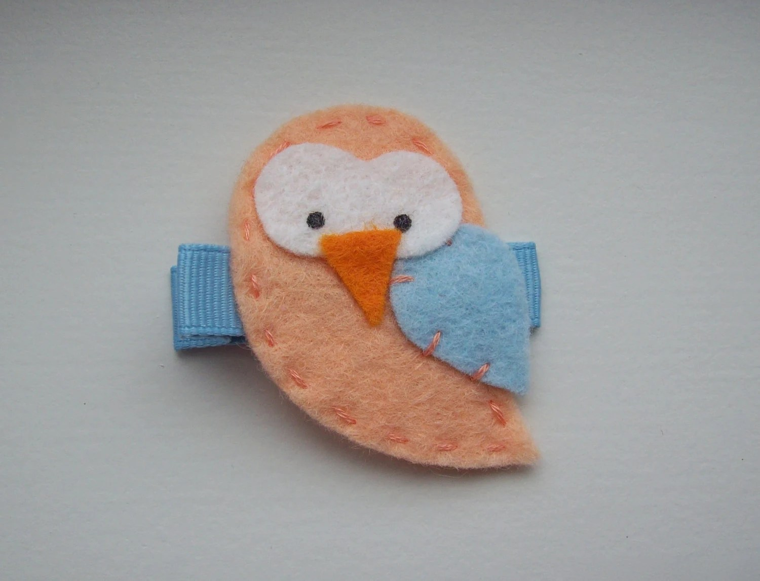 cute felt Spring owl hair clip orange blue hair clippie