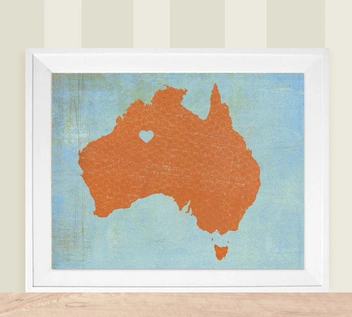 Australia Country or State Heart Love Map -  8x10 Silhouette Art Print