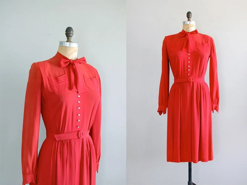 1940s dress / vintage red dress / Nelly Don