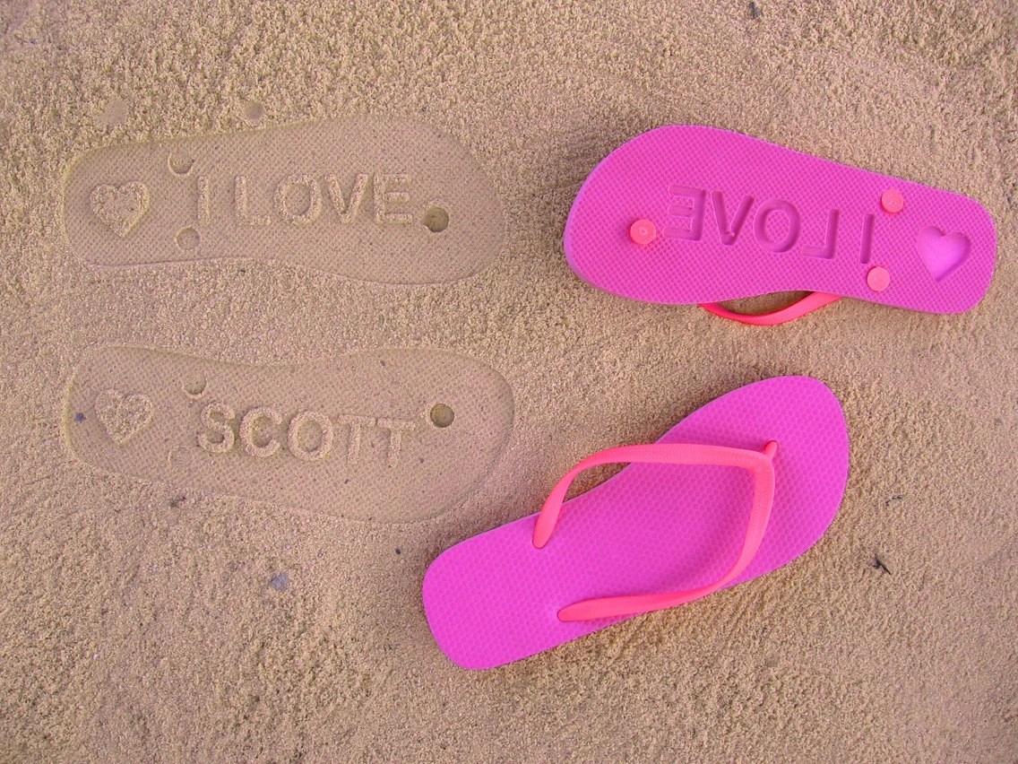 Custom Sand Imprint Flip Flops. Your Design. No Minimum Order Quantity.