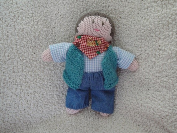 Hand Knit Cow Boy Baby Doll Knitted Cowboy Waldorf Soft Toy Toddler Safe