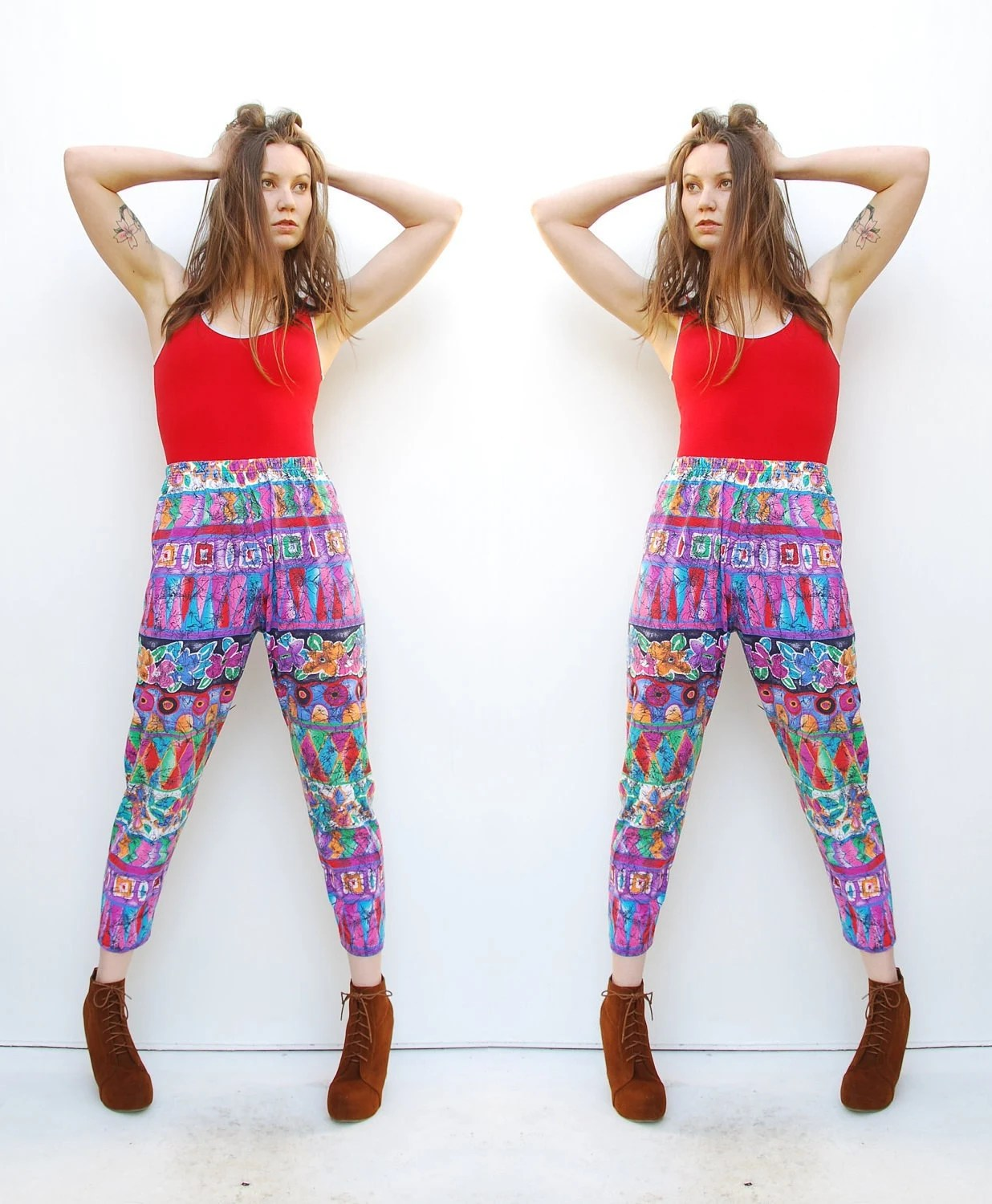 80s High Waist Pants - Knit Pants - Geometric Print - Floral Print - Hipster Pants - High Waist Trousers - Tapered Pants - 4 6 8 S M