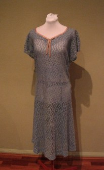Vintage 40s 'Baby Blue' Lace Dress in Large Size