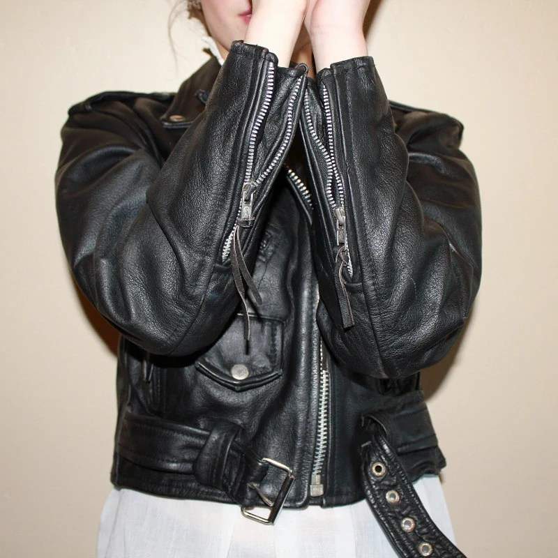 Vintage Cropped Leather Biker Jacket 1980s